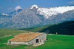 Hiker at  mountain hut on Mt. Moricone in Mount Sibillini National Park, north of Norcia, Umbria, Italy, AGPix_0092