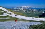 Walking  in mountains above Castelluccio in Monti Sibillini National Park, northeast of Norcia, Umbria, Italy, AGPix_0094