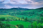 Landscape of Tuscany with Medieval hilltop town of San Gimignano, Tuscany, Italy, AGPix_0097