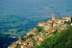 Town of Poggio Bustone on a hillside high above the Rieti Valley, Lazio, Italy, AGPix_0105