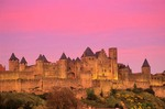 Fortified medieval city of Carcassonne at sunset, Languedoc, southwestern France, AGPix_0107