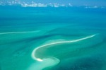 Sand bar in shallow seas of Grand Bahama Bank, aerial view north of Exuma in the Bahama Islands, AGPix_0114
