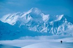 Skier on Malispina Glacier with Mount St. Elias in background, Wrangell-St. Elias National Park, Alaska, AGPix_0129
