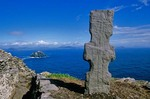 Celtic cross at early christian monastery on the isolated island of Skellig Michael, County Kerry, Ireland, AGPix_0135