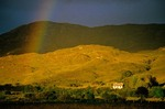 Farm cottage and rainbow in County Donegal, Ireland, AGPix_0138