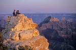 Family Family watching sunset from Bright Angel Point on North Rim of Grand Canyon National Park, Arizona, AGPix_0150