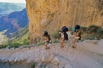 Backpackers on Bright Angel Trail below South Rim, Grand Canyon National Park, Arizona, AGPix_0151