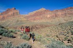 Family backpacking on the Tonto Trail near Boucher Canyon below the South Rim of Grand Canyon National Park, Arizona, AGPix_0153