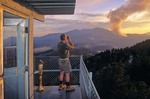 Fire lookout on O'Leary Peak tower observing the Bear Jaw Forest Fire, Coconino National Forest, Flagstaff, Arizona, AGPix_0163
