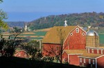 Red Barn With Village of St. Donatus in Background, October Location: Jackson County, Iowa, AGPix_0170