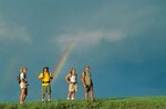 Hikers and prairie rainbow in the Little Missouri National Grassland, north of Medora, North Dakota, AGPix_0180