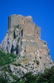 Castle of Queribus atop rock near Pyrenees in Aude Departement, Languedoc, Southwestern France, AGPix_0202