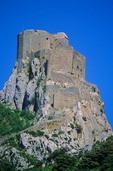 Castle of Queribus atop rock near Pyrenees in Aude Departement, Languedoc, Southwestern France, AGPix_0202