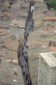 Narrow street in medieval Tuscan town, viewed From high tower at San Gimignano, Tuscany, Italy, AGPix_0206