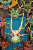 Carnival masks at tourist shop in Colonial District of Sant Domingo, Dominican Republic, AGPix_0222