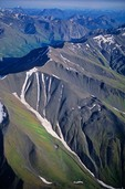 Aerial view of Wrangell Mountains near Bonanza Ridge in Wrangell-St. Elias National Park, Alaska, AGPix_0224