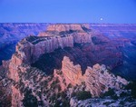 Moon over Wotans Throne from Cape Royal on North Rim of Grand Canyon, Grand Canyon National Park, Arizona, AGPix_0235