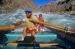 Jeff Schloss rowing a dory on the Colorado River, below Phantom Ranch, Grand Canyon National Park, Arizona, AGPix_0245
