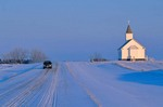Snowy winter road at Saint Paul Lutheran Church, Winter on Northern Plains, Mercer County, North Dakota, AGPix_0272