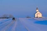 Snowy winter road at Saint Paul Lutheran Church, Winter on Northern Plains, Mercer County, North Dakota, AGPix_0272