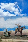 Mural of Santa Fe Trail painted on wall of Springer Drug Store in Springer, New Mexico, AGPix_0288