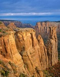 Sandstone cliffs on foggy morning at Colorado National Monument, near Grand Junction, Colorado, AGPix_0307