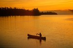 Fishing at sunrise, Boundary Waters Canoe Area lake, border of Minnesota and Ontario, Canada, USA, AGPix_0313
