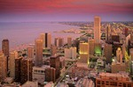 Downtown Chicago at sunset, with Lake Michigan in the background, view from the top of the John Hancock Building, Chicago, Illinois, AGPix_0315