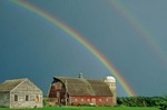 Rainbow over red barn in Blue Earth County near Medelia, Minnesota, AGPix_0317