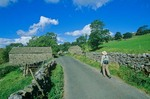 Walking through English countryside, Langstrothdale Valley near Oughtershaw, Dales Way Footpath, Yorkshire Dales National Park, England, AGPix_0357