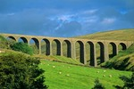 Railroad viaduct in Dentdale Valley along the Dales Way Footpath, near Cowgill, Cumbria, England, AGPix_0384