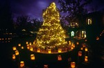 Christmas Tree and Christmas tree and luminarias at Tlaquepaque Shopping Center, Sedona, Arizona, AGPix_0394