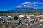 Historic downtown area of Flagstaff along Route 66, with San Francisco Peaks in distance, Flagstaff, Arizona, AGPix_0400