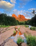 Cathedral Rock reflected in Oak Creek at Red Rock Crossing, Coconino National Forest, Sedona, Arizona, AGPix_0409