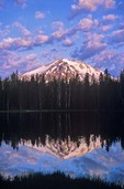Lassen Peak reflecting in Summit Lake at Lassen Volcanic National Park, California, AGPix_0422