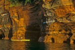Kayaking along cliffs at Apostle Islands National Lakeshore, Bayfield, Wisconsin, AGPix_0423