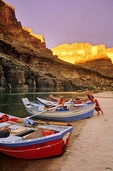 Dories on beach at sunset at Mile 120, Colorado River, Grand Canyon National Park, Arizona, AGPix_0430