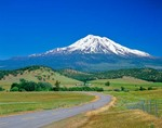 Mount Shasta Volcano (North Side), Elevation 14,162 Feet, view near Weed, California, AGPix_0476