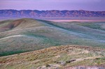 Sunset light colors in distant Temblor Range, viewed across Carrizo Plain National Monument, California, AGPix_0486