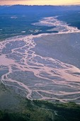 Braided stream channels of the Nizina River flowing from Wrangell Mountains. Wrangell-St. Elias National Park, Alaska, AGPix_0493