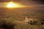 Basilica of Saint Francis at sunset, Valley of Spoletto in background, town of Assisi, Umbria, Italy, AGPix_0511