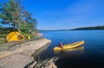 Canoeing near campsite on Sandburner Island, Sand Point Lake, Voyageurs National Park, Minnesota, AGPix_0536