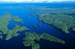 Aerial view of Rainy Lake at Dryweed Island, view looks eastward, Voyageurs National Park, Minnesota, AGPix_0540