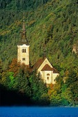Church of the Assumption, a 17th century baroque church, located in island in Lake Bled, Slovenia, AGPix_0544