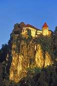 Bled Castle on high rock above waters of Lake Bled, at city of Bled, Slovenia, AGPix_0547