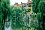 Ljubljiana River flows through historic city center of Lubljiana, Slovenia, AGPix_0556