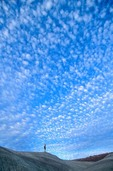 Altocumulus clouds over hiker, Little Painted Desert Park, north of Winslow, Arizona, AGPix_0565