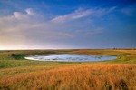 Prairie pothole, wetland at sunset on the Goven Ranch, north of Turtle Lake, North Dakota, AGPix_0574