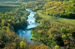 Pembina River flows in valley at Tetrault Woods State Forest, west of Walhalla, North Dakota, AGPix_0596