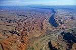 Comb Ridge, showing exposed rock strata of monocline and San Juan River, near Mexican Hat, Utah, AGPix_0600